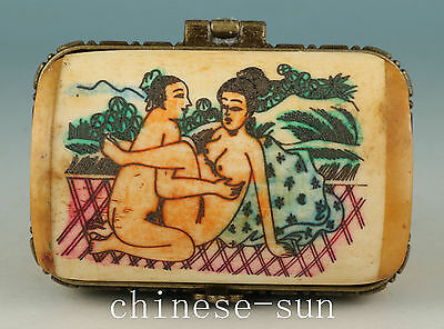Asian Chinese Old No Plastic Handmade Painting Belle Collect Box art