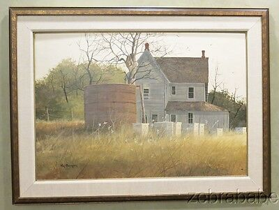 Ray Swanson (1937-2004) Oil on Board Painting Farm House Bee Hives