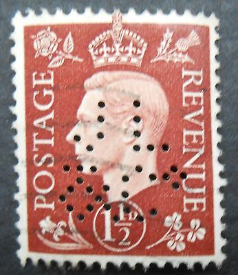 Great Britain 1937 1 1/2p KGVI definitive, used with JL & Co perfin, SC  237