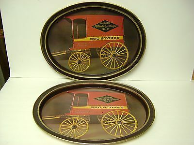 2 Vintage Advertising A&P Grocery Store Metal Serving Trays