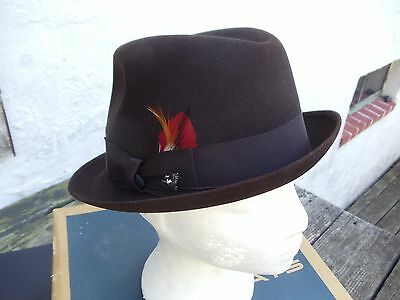 Vintage Champ Brown Felt Fedora with Feather & Eagle Charm in Original Box