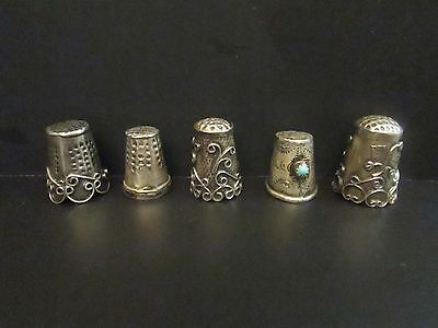 5 antique ornate sterling silver abalone turquoise sewing finger thimbles marked