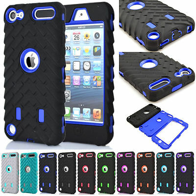 Tyre Rubber Hybrid Shockproof Hard Case Cover For Apple iPod Touch 5 / Touch 6
