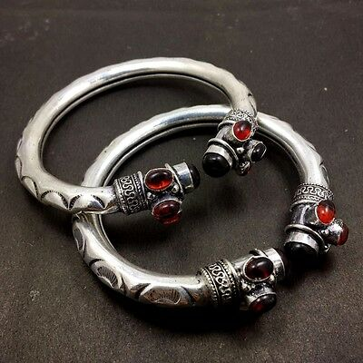 Wholesale Lot 925 Sterling Silver Plated Handmade Vintage Garnet Bangle/Cuff