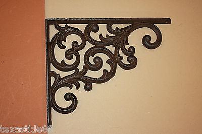 "(8)pcs, EUROPEAN DESIGN SHELF BRACKETS 9 1/4"", CAST IRON, VINTAGE LOOK, B-23"