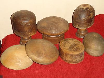 7 x Vintage Wooden Milliners Hat Blocks Moulds Puzzle - Shop Display