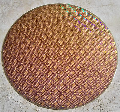"Rare Vintage 300mm (12"") Copper IC Microchip Silicon Pattern Wafer"