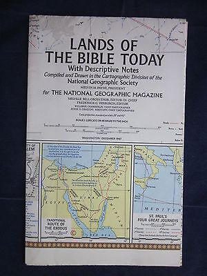 National Geographic Society LANDS OF THE BIBLE TODAY Map Poster 1967 ~ EXCELLENT