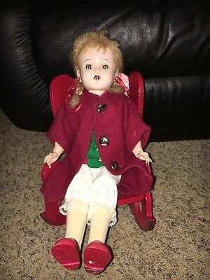 Vintage 17 Inch Unmarked Hard Plastic Walker Doll and Wooden Red Rocking Chair