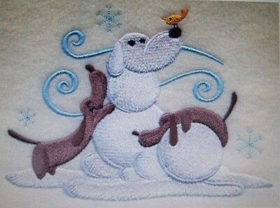 Dachshunds build a Snowman - BATHROOM SET HAND TOWELS EMBROIDERED