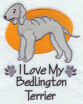 I Love My Bedlington Terrier Dog SET OF 2 HAND TOWELS EMBROIDERED Beautiful
