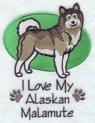 I Love My Alaskan Malamute Dog SET OF 2 HAND TOWELS EMBROIDERED Beautiful