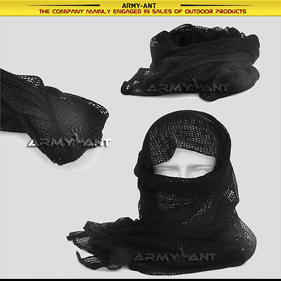 Black SWAT Tactical Cotton Mesh Scarf Wrap Face Cover Mask Shemagh Sniper Veil