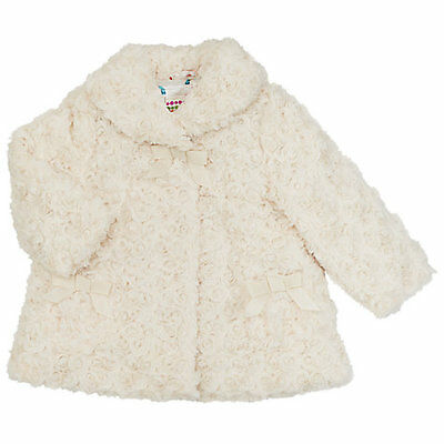 John Lewis Faux Fur Cream Coat. Age 2-3 Yrs. New With Tag.