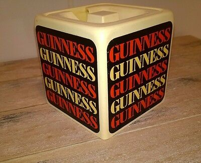 """GUINNESS VINTAGE 1960s  MUSTARD POT WITH LID  2.5"""" SQUARE PLASTIC"""