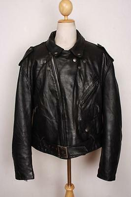 Vtg SCHOTT PERFECTO Black 618/118 Leather Motorcycle Jacket Size 50