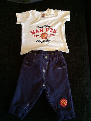 Genuine Manchester United White T-shirt & Blue Joggers Set 3-6 Months