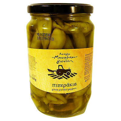 Greek Green Pickled Peppers Traditional Pepperoncini Variety Net Weight 650gr