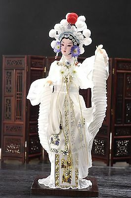 Beautiful Broider Doll Chinese Old style figurine White China girl statue