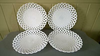 Four 19th C Sowerby Queens Ivory Basket Weave Lattice Work Plates C 1876+