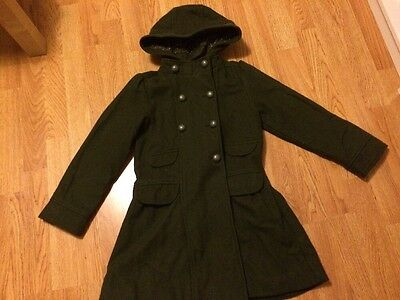 Khaki Green Wool Coat Hooded Age 8 Yrs Girls