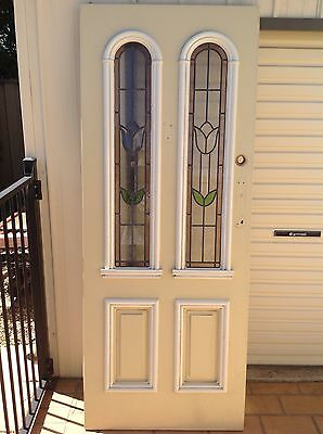 Leadlight Entrance Door Solid Painted Timber 2035 x 810 x 40mm