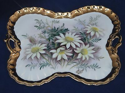 Vintage Hand Painted MARIA THERESA Bavaria Porcelain Double Handle Tray - Floral
