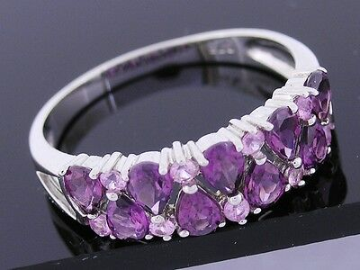 R251 Solid 9K White GOLD Natural Rhodolite & Pink Sapphire Anniversary Ring