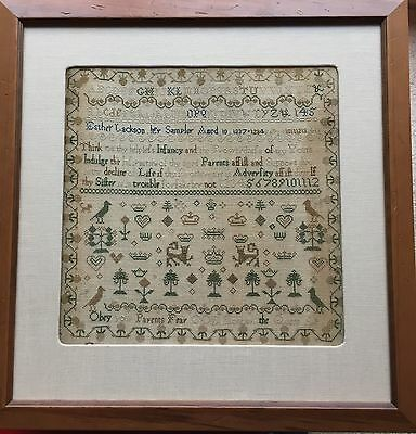 Beautiful 19th c  Antique Spot Motif Sampler, crowns  Jackson 1837