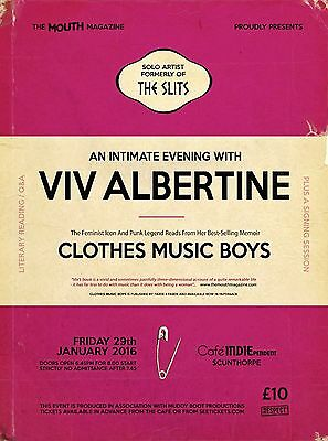 A0 size - VIV ALBERTINE one-off spoken-word event poster - THE SLITS