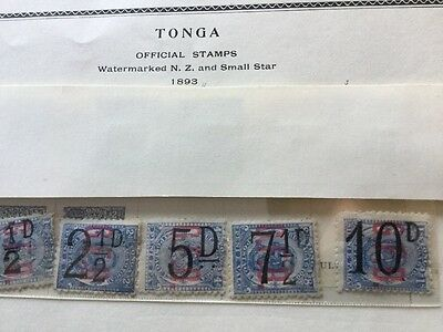 Tonga Stamps Mint  1893 Official Stamps