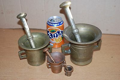 4 X 1800's 19th Century HEAVY Brass / Copper Mortar And Pestle PHARMACEUTICAL