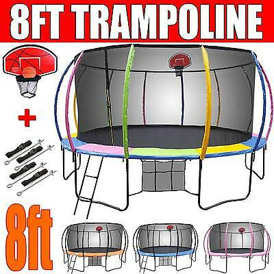 8ft NEW Round Trampoline FREE Basketball Set+Safety Net+Spring Pad Cover+Ladder