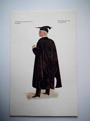 Oxford University Ropes Bachelor in Divinity Old Postcard