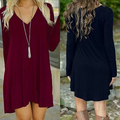 USA STOCK New Women Casual Long Sleeve Evening Party Cocktail Short Mini Dress