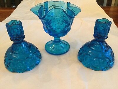 3 Vintage Candy Dish, Pair Candlesticks Holders Blue Moon And Stars L.E. Smith