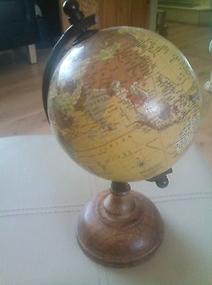 High quality stylish brown  diameter globe on 10 INCHS HIGH with wooden base