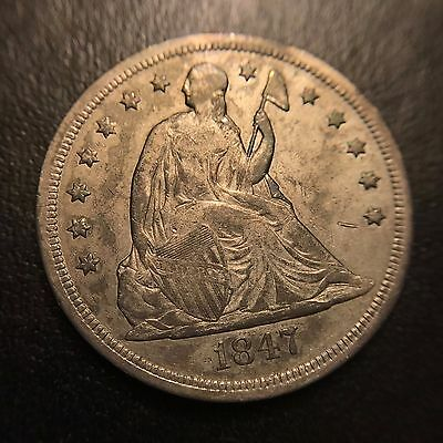 1847 Seated Liberty One Dollar XF Extremely Fine Type Coin Silver S$1