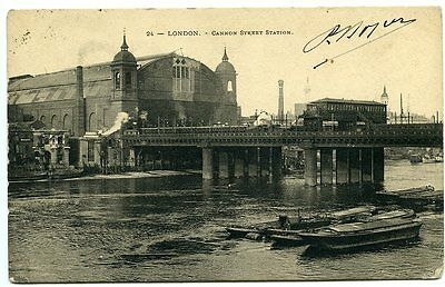 LONDON, Cannon Street Station from the Thames, posted 1905 to France
