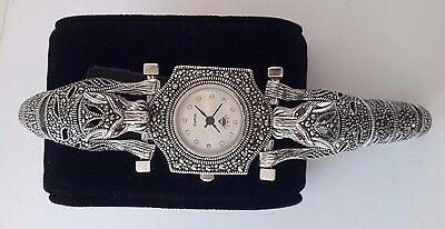 Sterling 925 Silver Handcraft Jewelry Swiss Marcasite Ladys Dragon Wrist Watch
