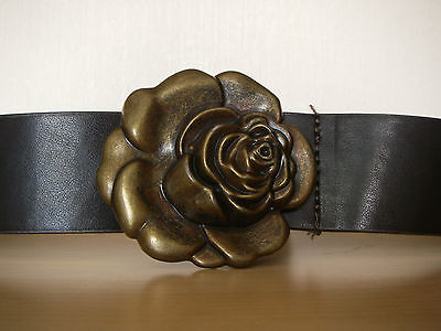 BROWN FAUX LEATHER BELT with Rose Buckle