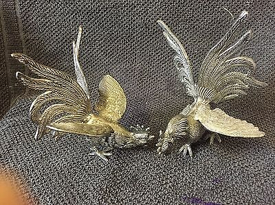 Vintage Silver Plated Fighting Birds Cockerels Chickens Figure Ornament