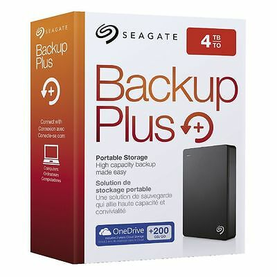 NEW Seagate Backup Plus 4TB BLACK USB3 Portable External Hard Drive STDR4000100
