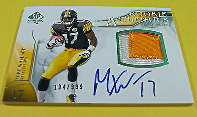 2009 Sp Authentic Mike Wallace Rookie Auto Patch Used Relic Signature Rc Ravens