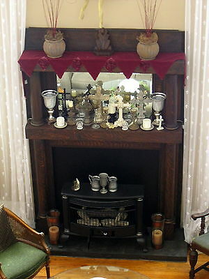 Large Antique Tiger Oak Fireplace Mantel with Mirror – Craftsman or Mission