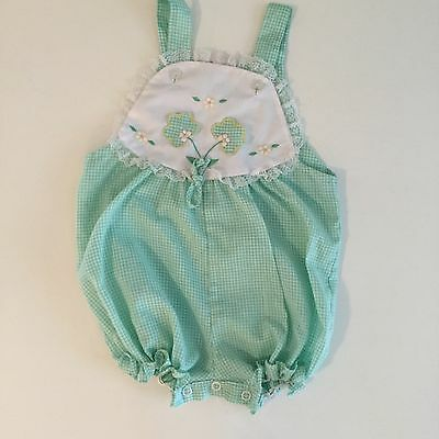 Vintage Romper Sunsuit, Mint Green Floral Baby Girl Toddler Outfit 18 Months