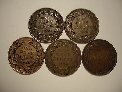 Canada George V 1916 Large Cents - Lots of 5 Coins