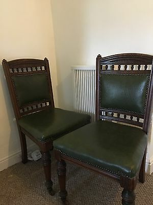 Vintage Green Leather & Wood Dining Chairs X2