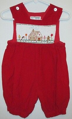 Euc 3 6M Girls Boutique House Of Hatten Smocked Romper Christmas