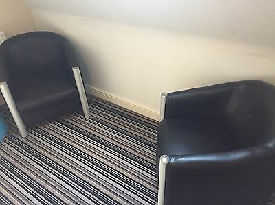 Black Leather Tub Chairs x 2